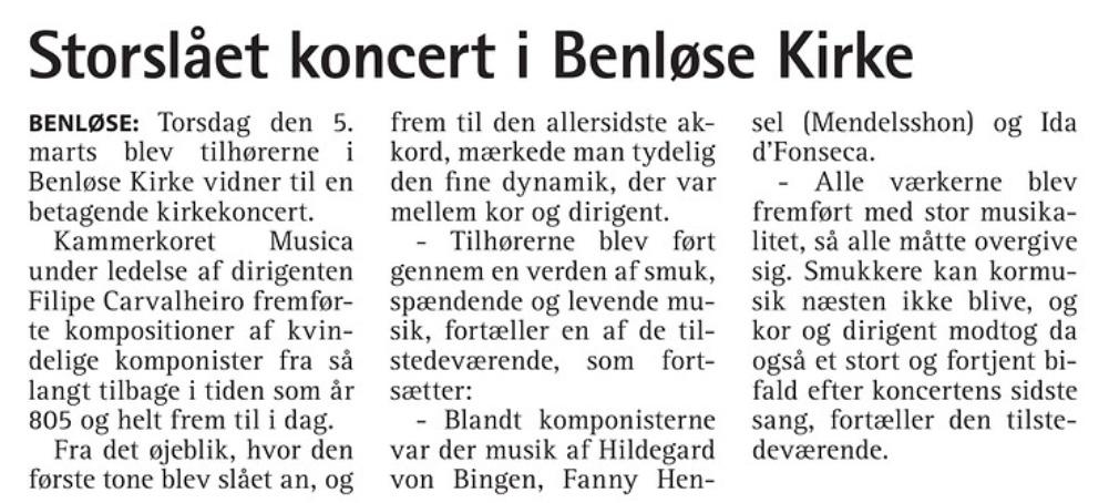 """Anmeldelse af Musicas koncert """"Kvindetstemmer"""" i Benløse kirke"""